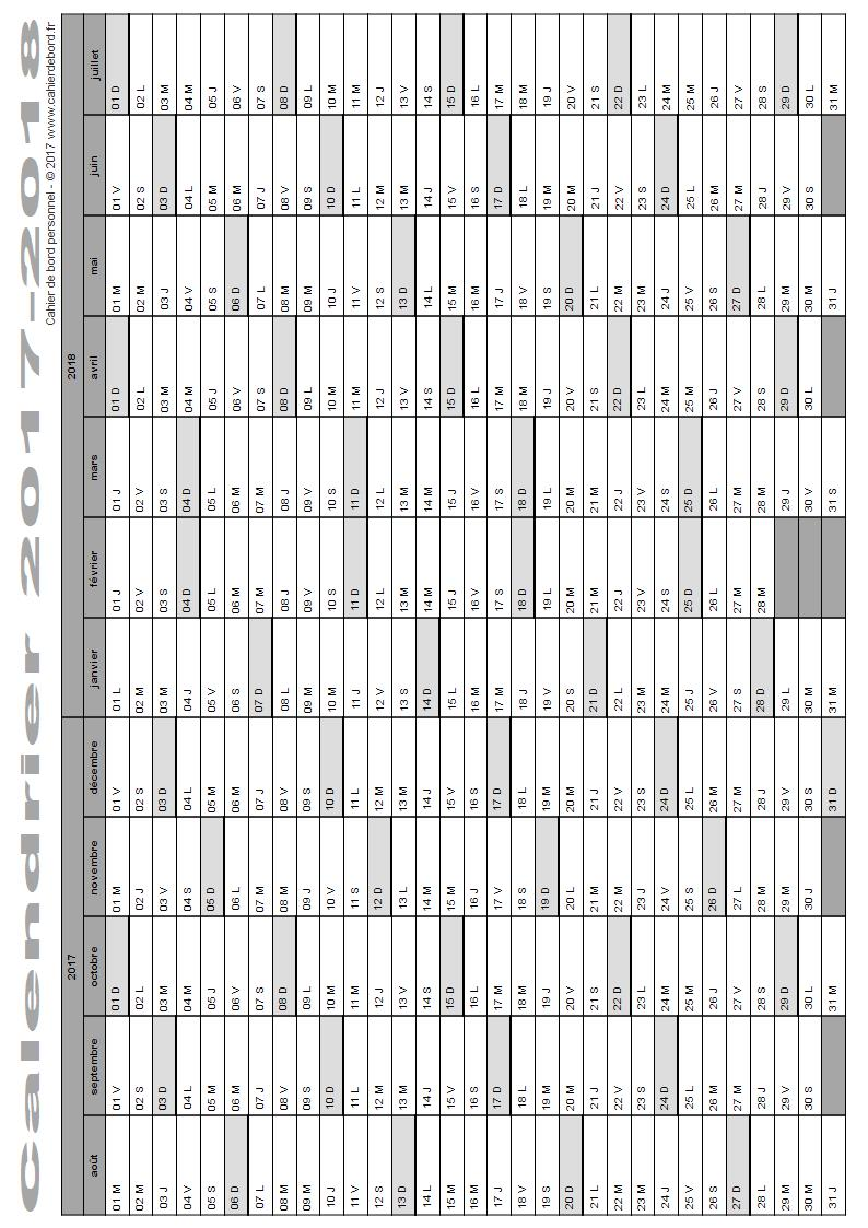 calendrier scolaire 2017 2018 cahier de bord. Black Bedroom Furniture Sets. Home Design Ideas